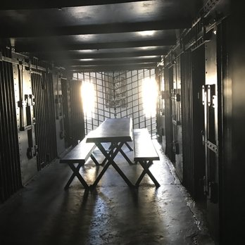 picnic table in the jail