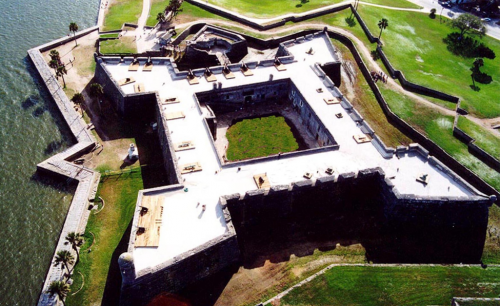 An ariel shot of the imposing walls of Castillo San Marcos, not shown are the resident ghosts