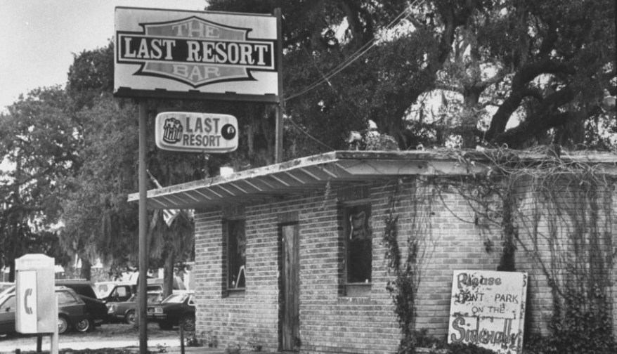 black and white photo of Last Resort Bar in Florida